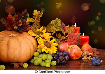 autumnal, frugter, og, vegetables.