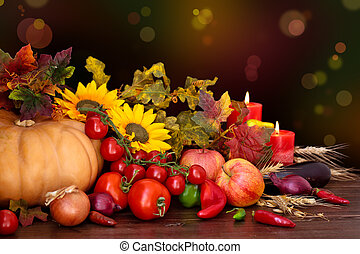 Autumnal fruits and vegetables.