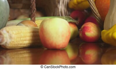 Autumnal Harvest or Thanksgiving, Cornucopia filled with...