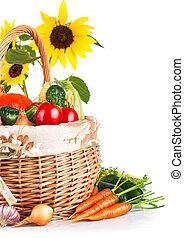 autumnal harvest vegetables in basket