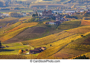 Autumnal hills of Piedmont, Italy. - Small town on the hill ...