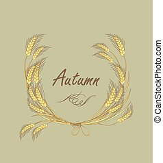 Autumnal label with wreath