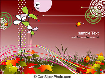Autumnal leaf background, vector illustration