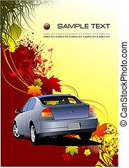 Autumnal leaf background with car image, vector illustration