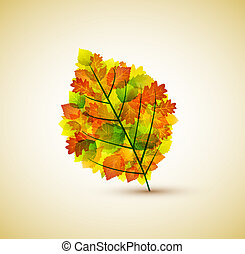 autumnal leaf - vector background with natural autumn leaf