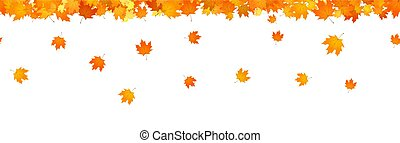 Autumnal leaves fall horizontal seamless banner for decor.
