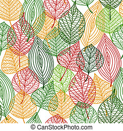 Autumnal leaves seamless pattern
