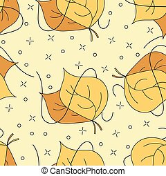 Autumnal leaves seamless pattern in yellow and brown colors for wallpaper