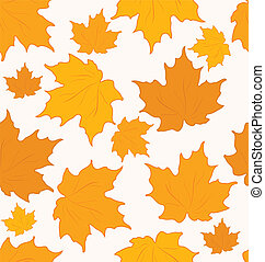 Autumnal maple leaves, seamless background - vector