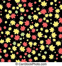 Autumnal maple leaves, vector seamless pattern