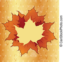 Autumnal maple leaves, wooden texture