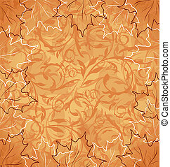 Autumnal maple, seamless floral background