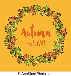 Autumnal or fall round frame background. Wreath of autumn leaves