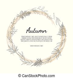 Autumnal round frame. Wreath of autumn leaves. Background with hand drawn autumn leaves.