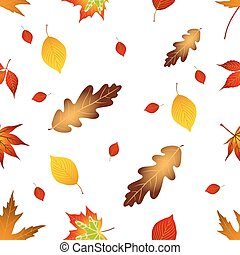 Autumnal seamless leaves pattern, on white background.