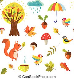 Autumnal seamless pattern with nature elements and cartoon...