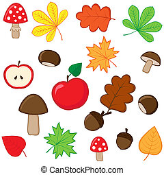 Set of autumnal nature elements