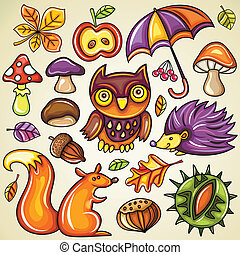 vector set of colorful autumnal objects: leaf, umbrella, apple, mushrooms, owl, berries, chestnut, hazelnut, hedgehog, squirrel, acorn, fly agaric