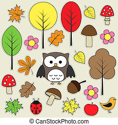 Autumnal stickers - Set of autumnal bright stickers.