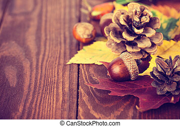 Autumnal still life with acorn pinecone and yellow leaves on wooden board