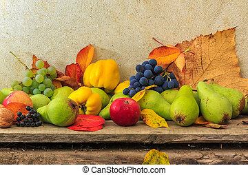 autumnal still life with fruit and leaves on a wooden base -...