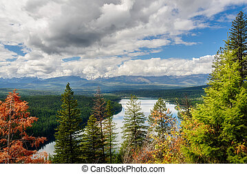 Autumnal View of Holland Lake in Montana