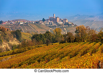 Autumnal vineyards in Northern Italy. - View of beautiful ...