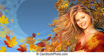 Autumnal woman long collage