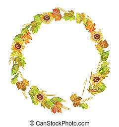 Autumnal wreath made of leaves, ripe sunflowers and spikes