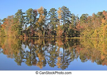 Autumn's Beauty - Beautiful Autum colors reflected in a pond