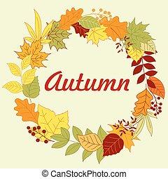 autunnale, cornice, con, colorito, foglie, e, erbe
