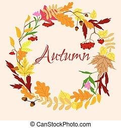 autunnale, cornice, con, foglie, e, bacche