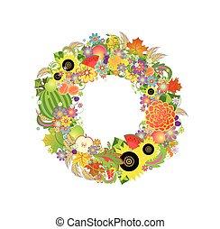 autunnale, decorativo, ghirlanda, con, frutte, fiori, e, frumento