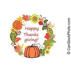 autunnale, floreale, decorativo, cornice, per, ringraziamento, con, zucca, girasole, e, crisantemo