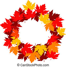 autunnale, foglie, cornice