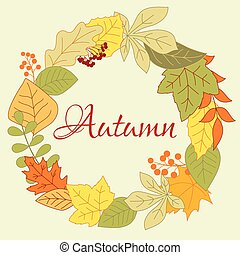 autunnale, foglie, fogliame, rotondo, cornice, con, bacche, e, semi