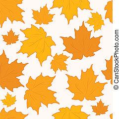 autunnale, -, seamless, foglie, vettore, fondo, acero