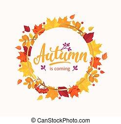 autunno, è, venuta, bandiera, con, cornice, da, leaves.