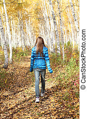 autunno, adolescente, solitario, ragazza