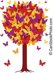 autunno, albero, con, farfalla, foglie