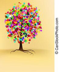 autunno, albero, disegno, colorito