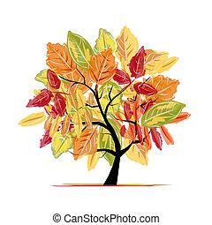 autunno, albero, disegno, tuo