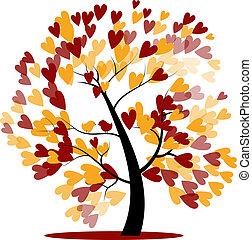 autunno, albero, matrimonio