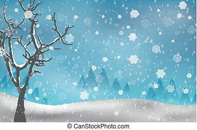 autunno, albero, natale, inverno