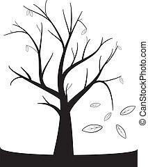 autunno, albero, nero