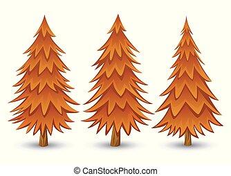 autunno, albero, pino, collezione