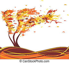 autunno, albero, vettore, grunge, wind.