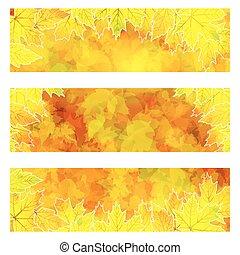 autunno, arancia, bandiere, con, colorito, foglie