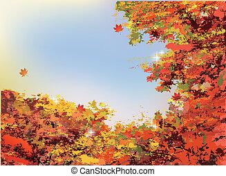 autunno, arancia parte, fondo
