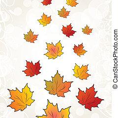 autunno, arancia parte, volare, acero